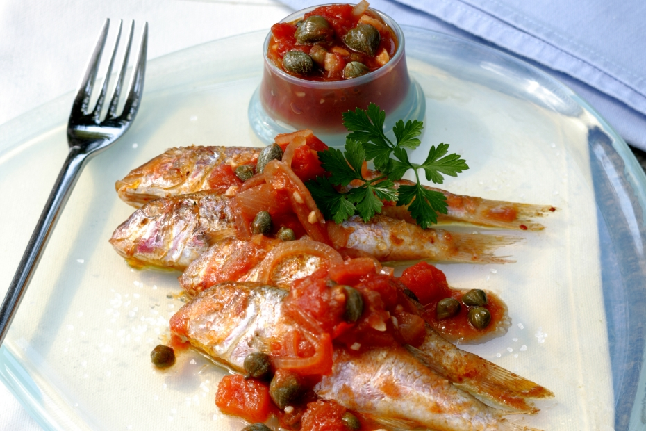 Red Mullets and Capers make this a specialty of the Cyclades, in the Aegean.