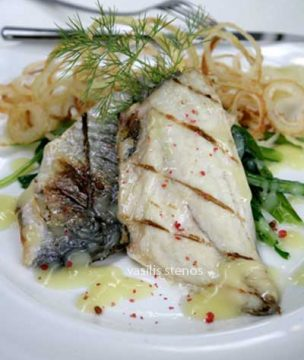 Fish with greens and avgolemono sauce