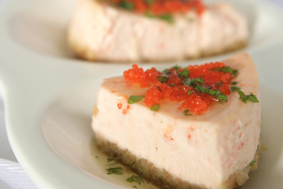 Greek yogurt and tarama, fish roe, in an unusual cheesecake.