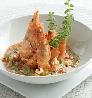 Shrimp, Olive Oil, Ouzo, Feta, Herbs