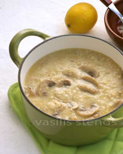 Trahana is an ancient wheat and dairy based food, used in soups, stews, and stuffed dishes.