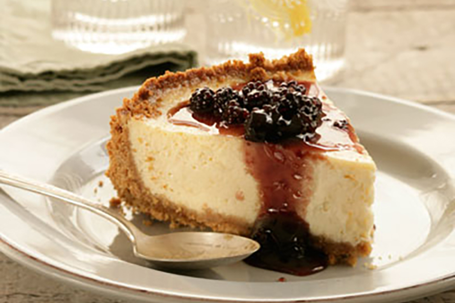 Greek yogurt cheesecake with sour cherry spoon sweet