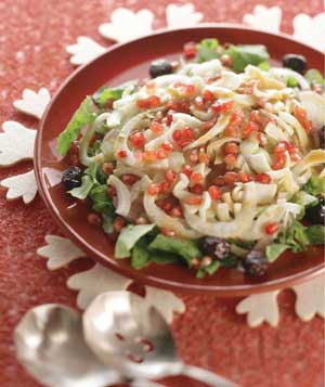 Arugula, Fennel, Pomegranate and Olive Salad
