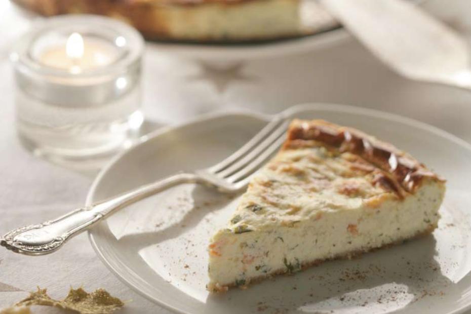 Savory Greek-Yogurt, Smoked Salmon Cheesecake