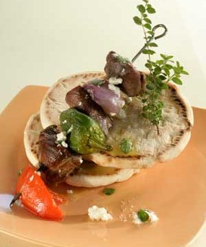 Lamb, Peppers, Tomatoes and Pita Bread Make the Perfect Souvlaki