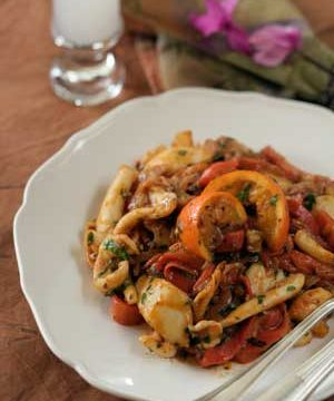 Roasted red pepper and cuttlefish stew