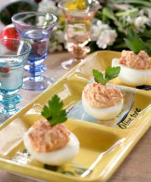FETA-GREEK YOGURT STUFFED DEVILED EGGS