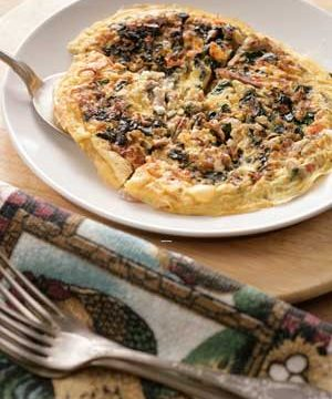 Omelet with Leftover Lamb, Spinach, Feta, and Herbs