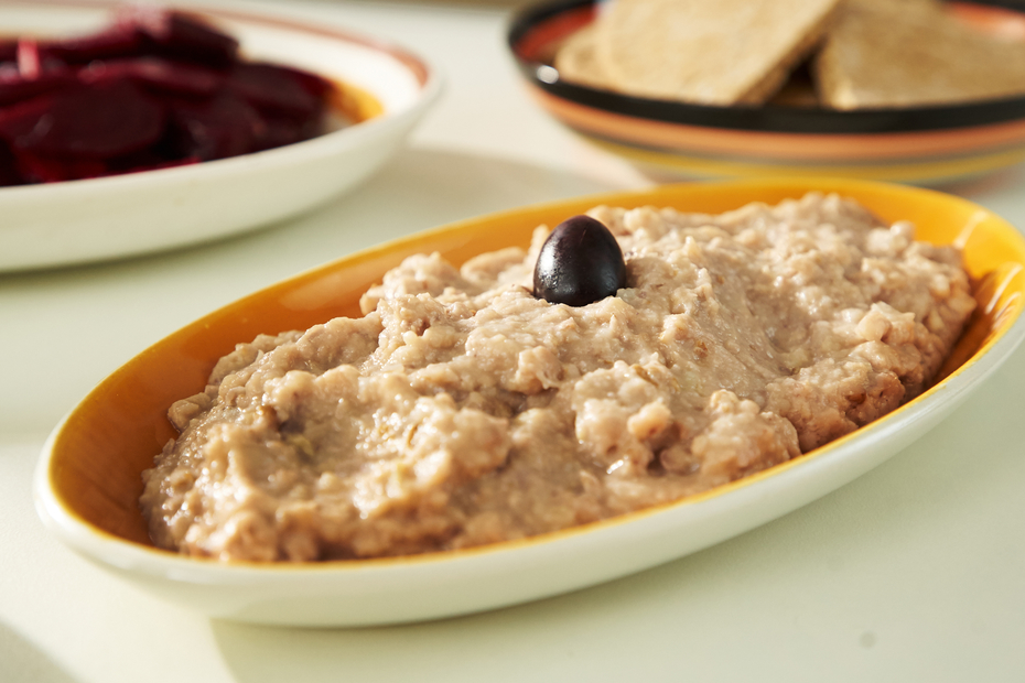Skordalia, the Greek garlic dip, here made with walnuts.