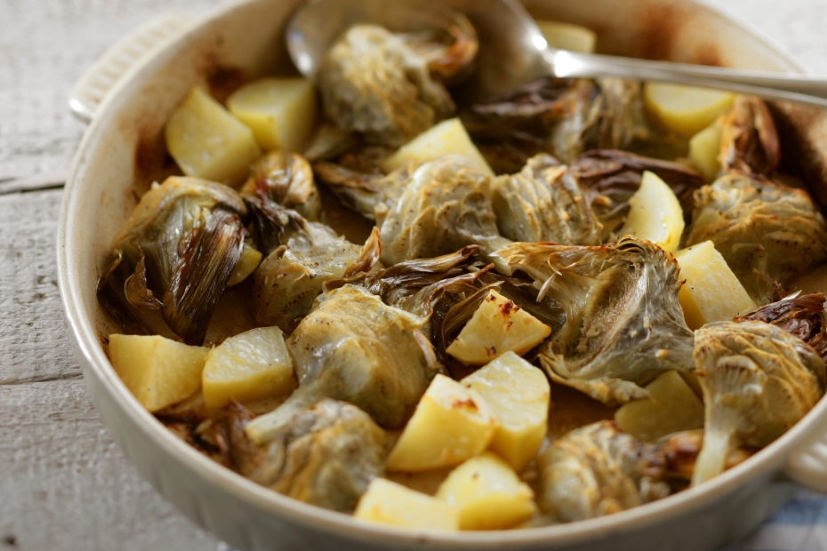 Roasted Artichokes with Potatoes and Olive Oil
