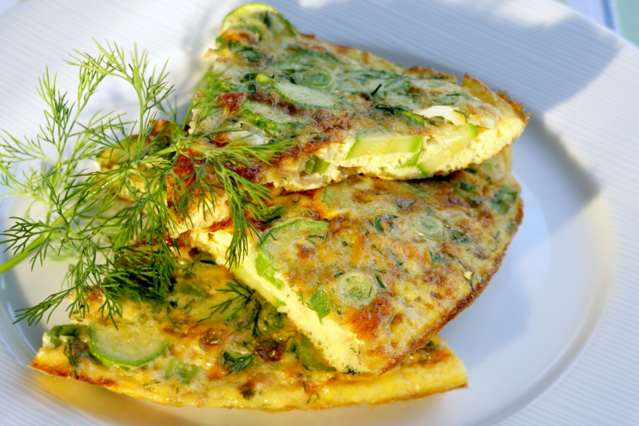 Zucchini, Feta and Spring Herb Omelet with Greek Yogurt