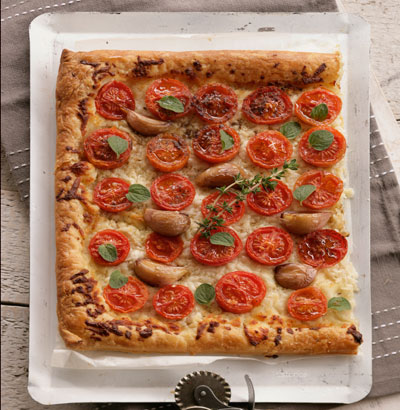 Haloumi-Tomato Puff Pastry Tart