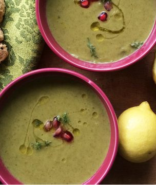 Try this light, filling celery soup, which I've flavored with apples, orange juice, and ouzo.