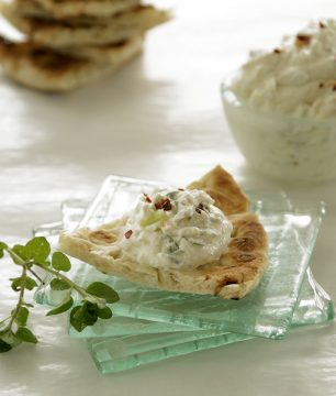 Spicy whipped feta dip makes a great spread for bruschetta and filling for eggs, chicken, sweet peppers, tomatoes and more.