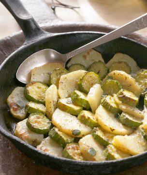 Ikarian vegetarian zucchini potato medley