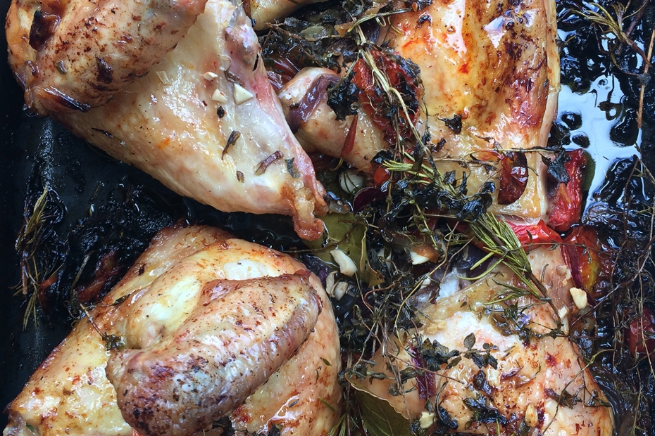 Five Minute Roasted Chicken Smothered in Herbs and Fresh Tomatoes