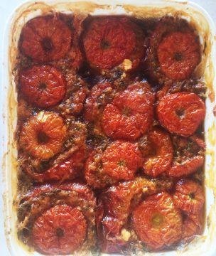 Trahana-stuffed summer tomatoes