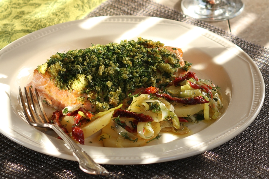 Herb Crusted Salmon with Vrisi 36 Olive Oil &Mustard
