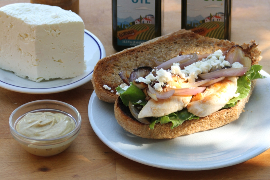 Sparta Chicken Melt Sandwich with Vrisi 36 olive oil and mustard