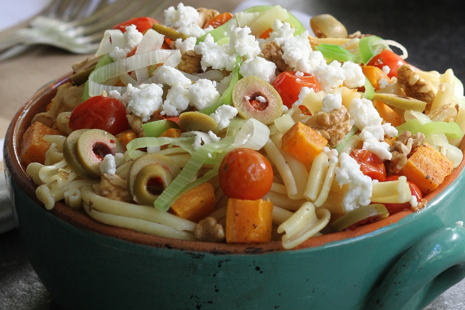 Butternut Squash, Green Olives, Tomatoes, Leeks, and Garlic Pasta