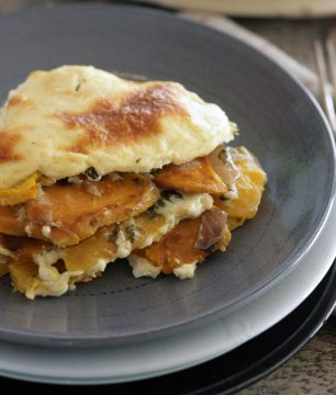 moussaka with layers of pumpkin and sweet potatoes