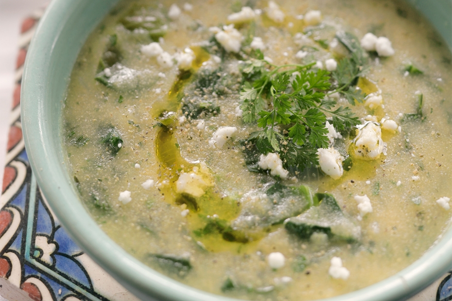 Ikarian Longevity Corn and Green Soup