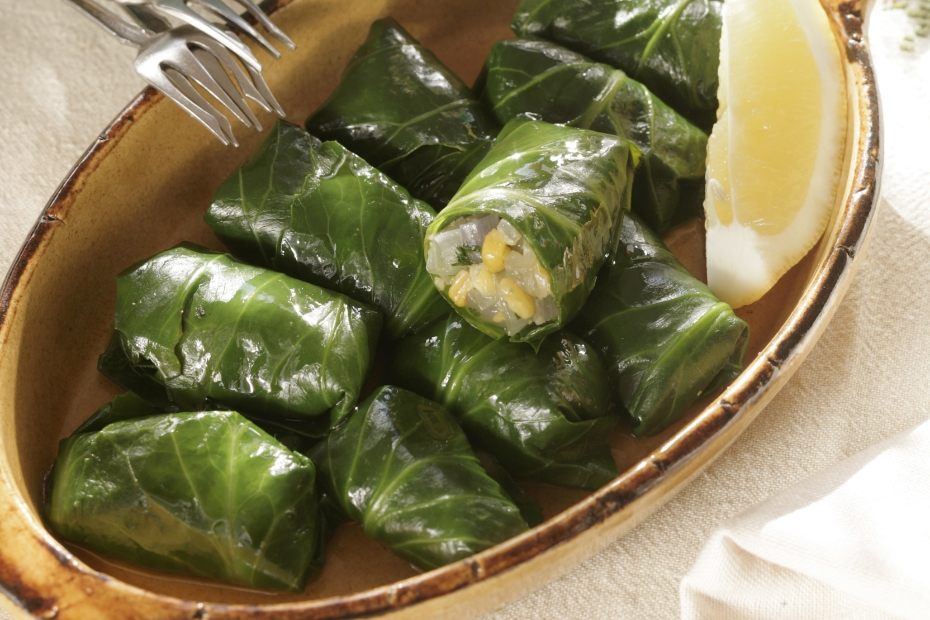 Collard Greens Filled with Corn, Ikaria Longevity Cooking