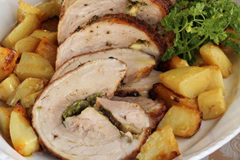 Roasted Pork Stuffed with Greek feta, peppers and herbs