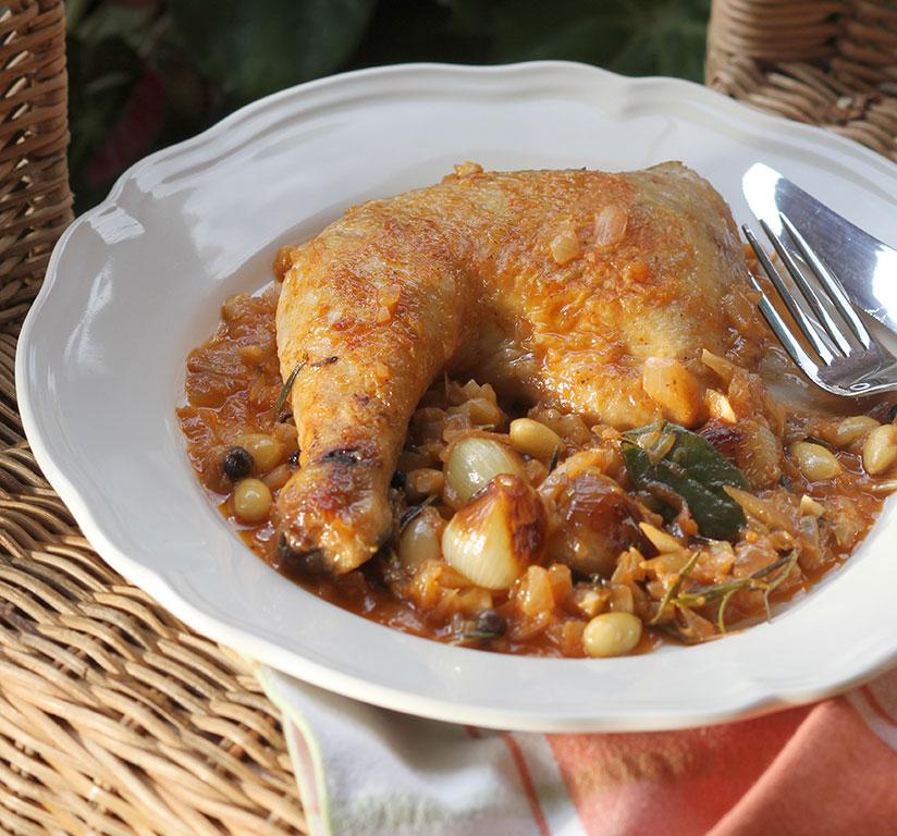 Ikaria style Chicken Braised in Wine, Stifado