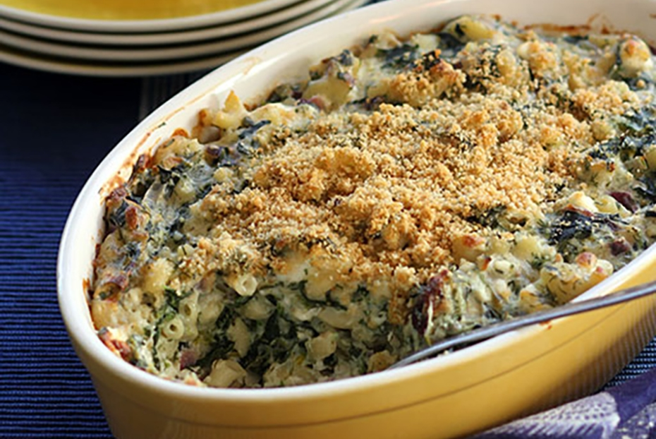 mac'n'cheese with Greek spinach pie filling