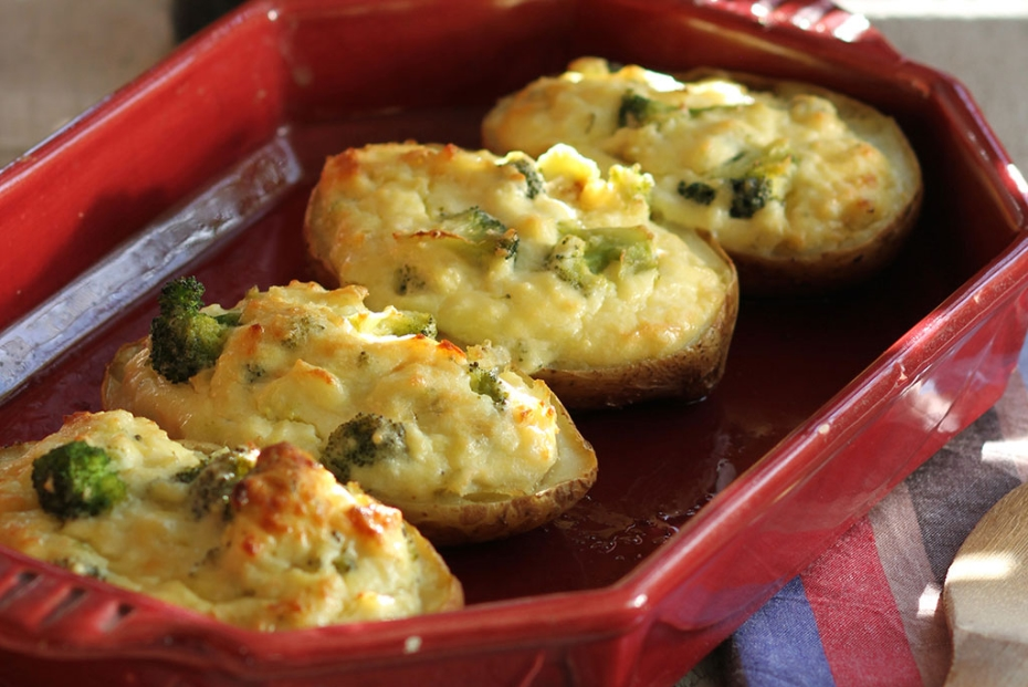 Potato skins stuffed with Broccoli, Feta, and Greek Yogurt