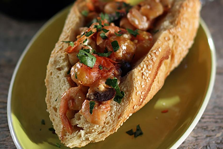 Shrimp Saganaki Sandwich with Feta, Kalamata Olives, and Olive Oil