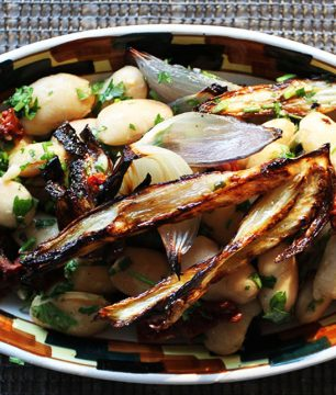 Greek Tea-Smoked Giant Bean Salad with Charred Vegetables