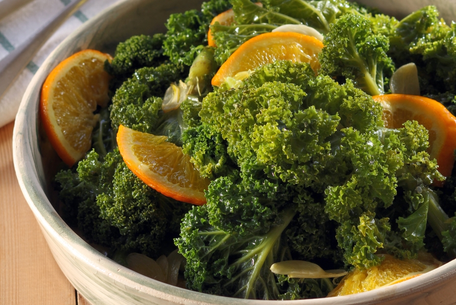 Kale wilted in Greek olive oil with garlic and oranges