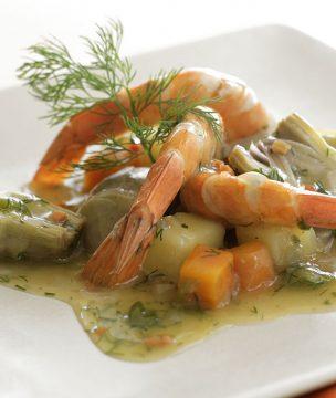 Braised artichokes, carrots, potatoes and shrimp