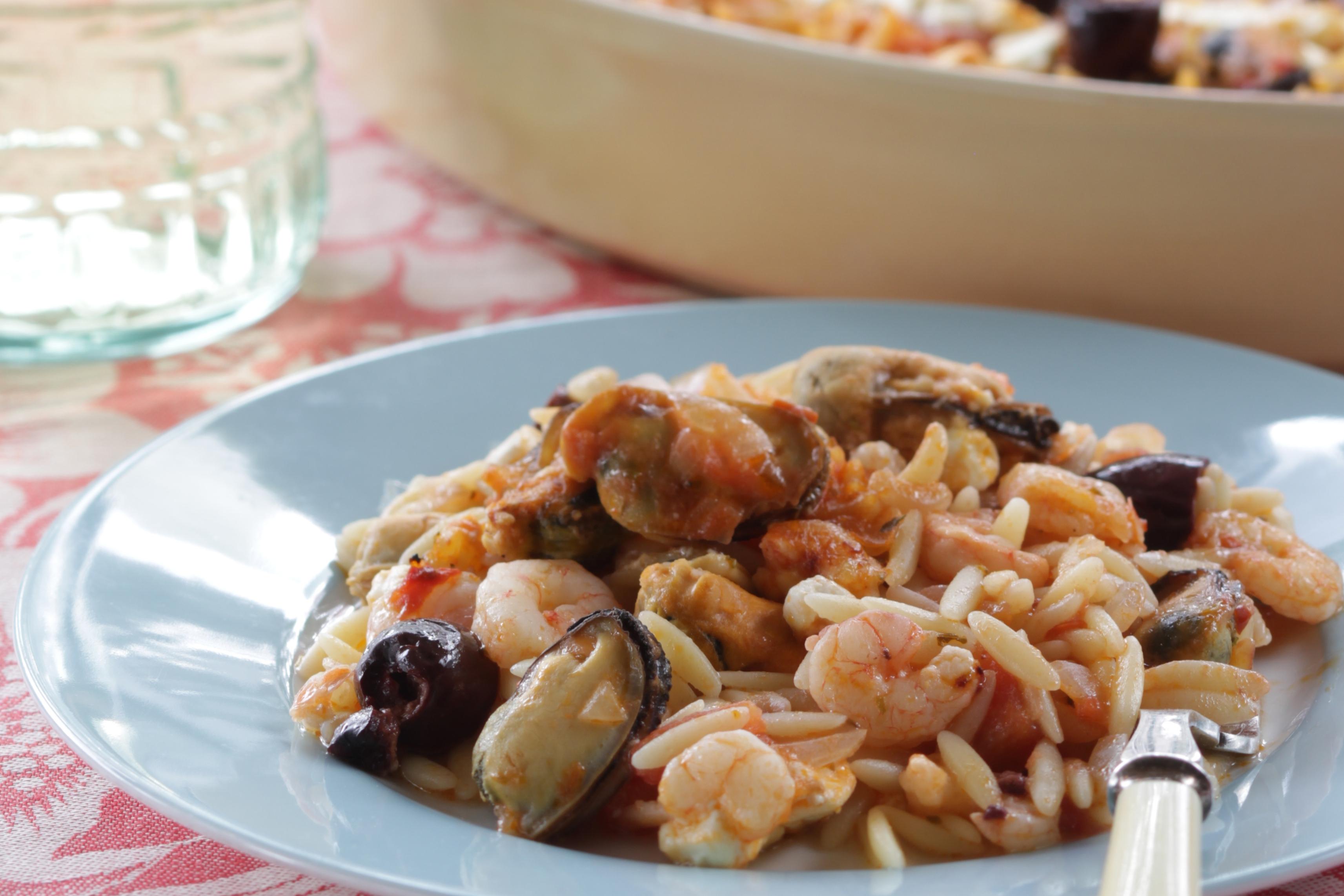 Baked-Seafood-Orzo-with-Kalamata-Olives