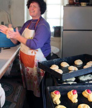 Our neighbor, Vasso, makes tsoureki, the Greek Easter bread, at the  village bakery.