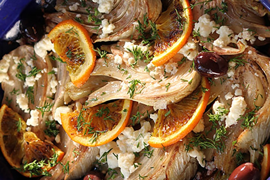 Roasted Fennel with Feta, Greek Olives, and Oranges.
