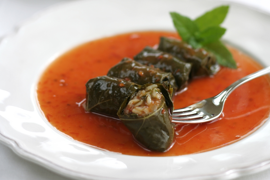 Halkidiki-style vegetarian stuffed grape leaves in tomato sauce