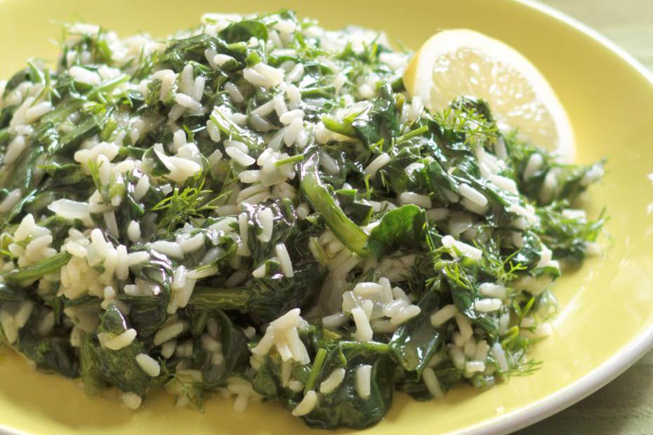 Spinach rice, also called spanakorizo