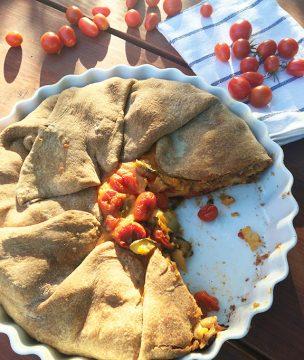 Cherry Tomato-Zucchini-Haloumi Savory Pie with Whole Wheat Filo