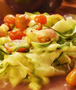 Shaved raw zucchini salad with mastiha-lemon vinaigrette