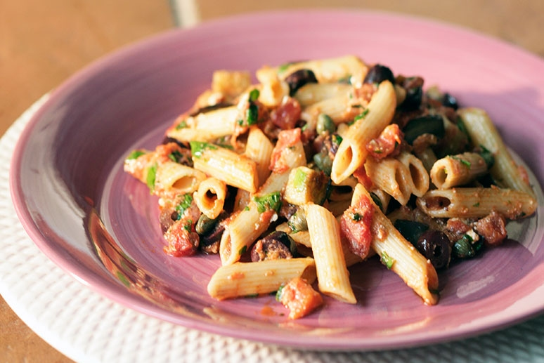 Pasta with Kalamata Olives, Capers, Eggplant, Manouri and Tomatoes