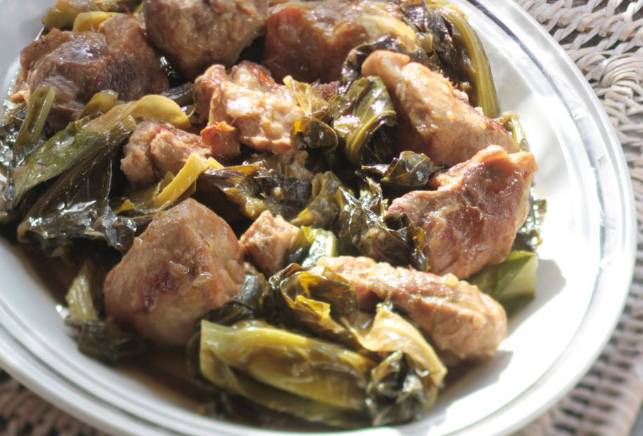Lemony Pork Braised with Collard Greens
