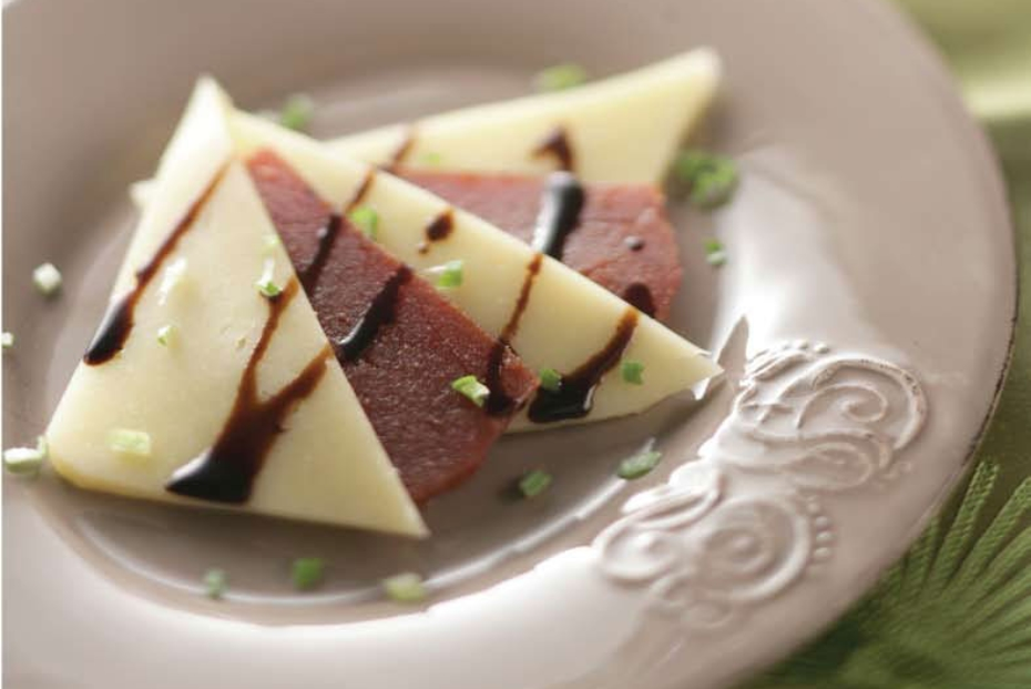 Quince paste layered with Kasseri or Kefalotyri cheese and drizzled with balsamic or petimezi.