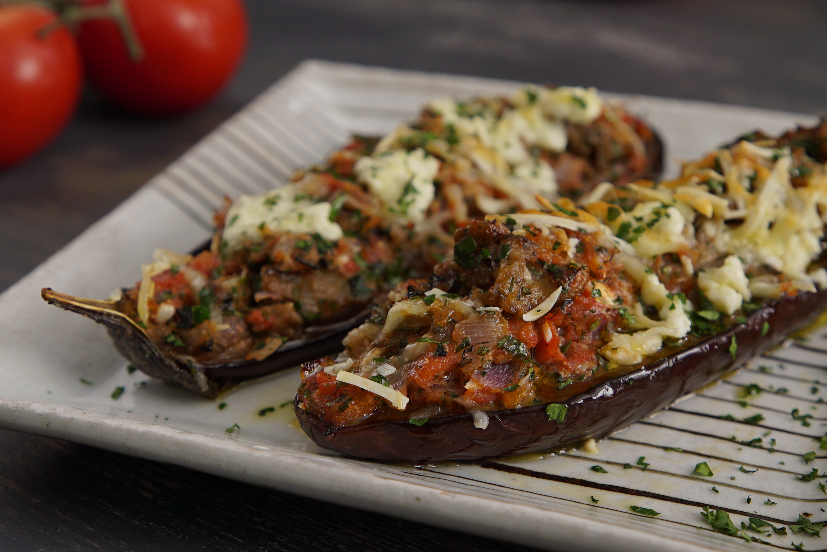 Little Shoes Eggplant Halves Baked With Three Cheeses