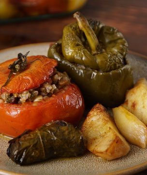 Stuffed Tomatoes, Peppers and Grape Leaves