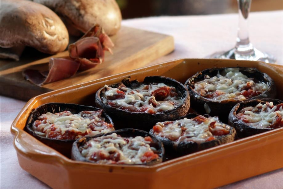 Portobellos Stuffed with Kasseri and Pasturma_