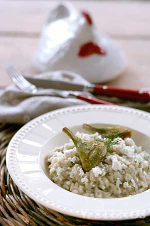 Greek risotto with artichokes, feta and lemon