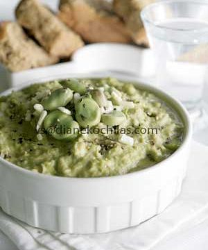 Fava, Greek bean puree, made here with broad beans.
